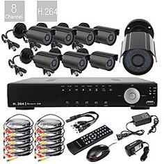 8CH D1 Real Time H.264 600TVL High Definition CCTV DVR Kit (8pcs Waterproof Day Night CMOS Cameras) | LightInTheBox