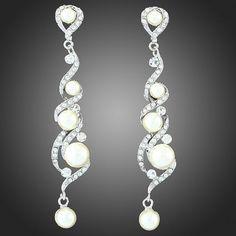 Wedding Royal Dangling Earrings Natural Pearls Austrian Crystals 18K White GP