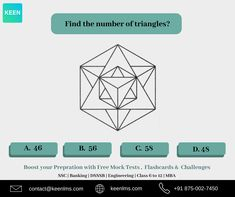 Number puzzles gkseries ssc reasoning pinterest venn diagrams find the number of triangles in the figure reasoning aptitude keen ccuart Gallery