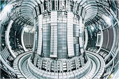 Plasma is contained and heated in a torus within the interior of the JET tokamak.