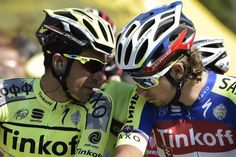 Tinkoff-Saxo teammates Alberto Contador and Peter Sagan chat before stage 11. (Getty Images Sport)