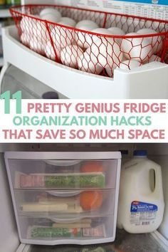 Awesome DIY FREEZER REFRIGERATOR ORGANIZATION HACKS, makeover ideas for extra storage space. All fits perfect with dollar store containers, bins, mason jars in small apartment mini fridge, side by side / French door fridge. Free inventory chart printable if you do healthy meal prep. Max storage on shelves, top of, inside door, side of, outside of, front of fridge. Know proper place to store fruits, veggies, milk #lifehacking #kitchenorganization #homemakingtips #homeorganization organisation