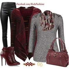 """""""Burgundy Casual"""" by redsfashions on Polyvore"""