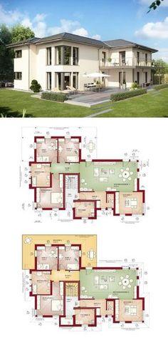 Zweifamilienhaus mit Walmdach und Einliegerwohnung bauen - Haus Ideen Grundriss Celebration 282 V5 Bien Zenker Fertighaus - HausbauDirekt.de