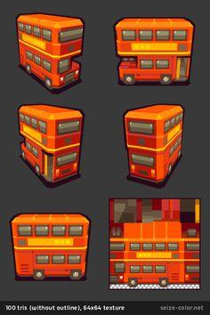 Bus londonien 3D low poly