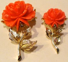 Set Of Two Coral Colored Flower Brooch by AuntEddiesCloset on Etsy, $18.00