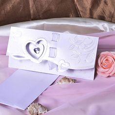 Heart Design Wedding Invitation With Ribbon/Rhinestone- Set of 50 – USD $ 79.99