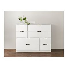 IKEA - NORDLI, Chest of 8 drawers, white, , You can use one modular chest of drawers or combine several to get a storage solution that perfectly suits your space.You can easily create your own personal design by mixing chests of different colours.Integrated damper catches the running drawer and closes it slowly, silently and softly.The concealed drawer runners ensure that drawers run smoothly even when heavily loaded.Adjustable feet make it possible to compensate any irregularities in the…