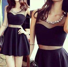 Sexy Black A Line Gauze Design Mini Dress