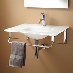 "32"" Yesler Glass Wall Hung Sink - White -- may be too modern."
