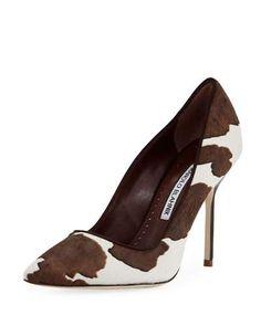 9e7bd0769852b Manolo Blahnik BB Cow-Print Pointed Pump Top Shoes, Women's Shoes, Me Too