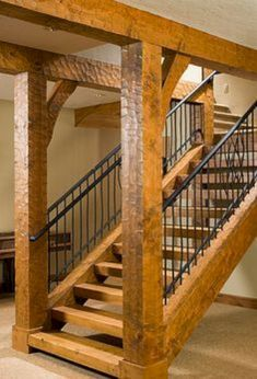 Image detail for -. Frame Homes Idaho Timber Frame Retreat Timber Frame Stairs Timber Frame Homes, Timber House, Timber Frames, Rustic Staircase, Staircase Ideas, Basement Staircase, Open Staircase, Timber Staircase, Railing Ideas