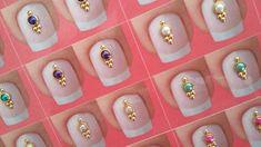 Kit contendo 100 pares de jóias Nail Jewels, Gem Nails, Fall Acrylic Nails, Luxury Nails, Elegant Nails, Swarovski, Nail Art Diy, Nail Tutorials, Nail Colors