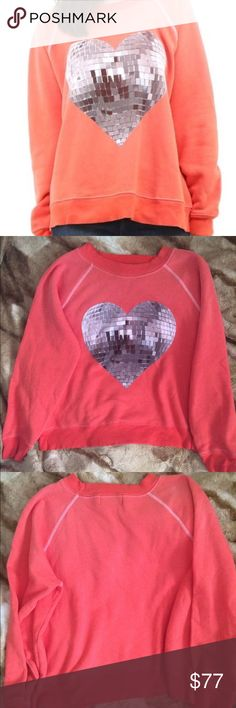 """Wildfox My Disco Heart Sommers Sweater NWOT Brand new never worn! Really cute, super soft and cozy. Measures aprox 24"""" between armpits. 23"""" long. Discoball image is printed in black/white greyscale. ❤️  Description from Wildfox site: this sweatshirt is vintage inspired, dirty fleece sweater in a slightly distressed burnout blend. Long sleeves, crew neck and banded hems. Formally known as Kim's sweater. In electric red. 70% cotton, 30% polyester. ❤️ No trades. Pls message with questions…"""