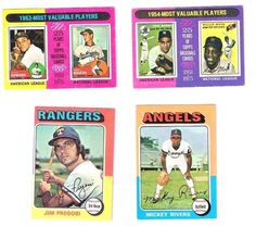 1975 Topps Mini Series Lot of Four Famous Baseball : Rivers; Howard; Koufax, Etc