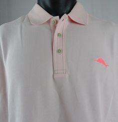 NWT Tommy Bahama Mens L Emfielder Polo Shirt Oxford Pink Light SS Pima Blend  #TommyBahama #Polo