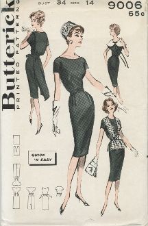 An unused original ca. 1960's Butterick Pattern 9006.  Scoop-neck basic sheath offers many smart changes!  The flattering oversized collar traces the neckline; adds streamer bow.  Other variations…poncho overblouse neatly belted and a free-flowing panel which creates back interest.