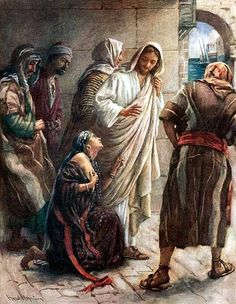 Jesus and the Bleeding Woman, by the touch of His garment's hem, she was healed. Through her Faith she was healed.