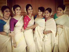 Onam Saree, Kasavu Saree, Kerala Saree Blouse Designs, Cotton Saree Blouse Designs, Kerala Wedding Saree, Saree Wedding, Saree Color Combinations, Onam Celebration, Set Saree