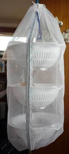 A Better Hanging Fruit Basket -- an easy DIY project that solves three problems with the wire baskets: no rust, far less bruising, and no bugs! From TheBoatGalley.com