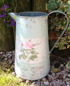 AQUA METAL JUG VINTAGE CHIC TIN PITCHER COTTAGE PINK ROSE FRENCH COUNTRY WEDDING #Shabby #Weddingaccessory