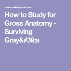 How to Study for Gross Anatomy - Surviving Gray's