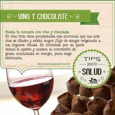 Cuida tu corazón con vino y chocolate. #Salud #CuidadoPersonal #Bienestar