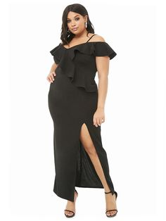 Plus Size Open Shoulder Ruffle Dress Evening Party dress shipping - chicmaxonline Short Sleeve Dresses, Dresses With Sleeves, Short Sleeves, Plus Size Party Dresses, Casual Dress Outfits, Bodycon Dress Parties, Cheap Dresses, Maxi Dresses, Evening Dresses