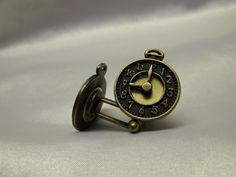 Mad Hatter Clock Cufflinks Bronze by AGothShop on Etsy, $15.00