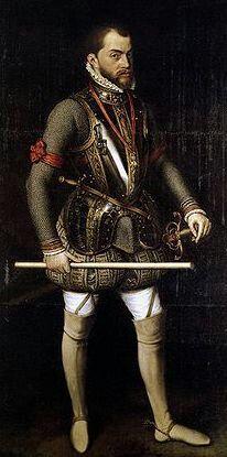 Filippo 2 ' di Spagna. Si sposò quattro volte per produrre un erede, iniziando la consuetudine dei matrimoni endogamici che avrebbero portato il suo casato alla estinzione.