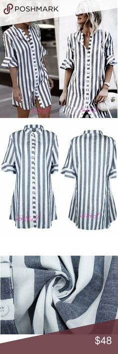 LAST ONE!! Gorfeous womens blue white striped half ruffle sleeve long button shirt. Super cute for this season! boutique Tops Button Down Shirts