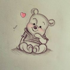 Disney Art~ Winnie the Pooh! - Disney Art~ Winnie the Pooh! You are in the right place about Disney Art~ Winnie the Pooh! Disney Drawings Sketches, Art Drawings Sketches Simple, Cute Disney Drawings, Cute Animal Drawings, Pencil Art Drawings, Cartoon Drawings, Cartoon Art, Cute Drawings, Unique Drawings