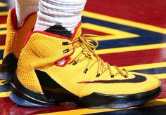 LeBron James Wearing a Yellow/Black-Red Nike LeBron 13 Elite PE