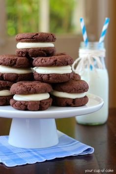 Homemade Oreos...I'm OBSESSED. Only 3 ingredients to make the cookies!