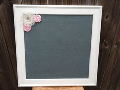 Smoke Gray Burlap Magnetic Board  16 x 16 by BurlapandLaceBoards, $45.00 Want this for my kid's art they bring home (minus lace flowers).  maybe 20 x 20 and the fabric covered buttons!  Love this!