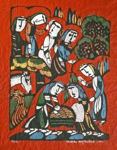 Nativity (1965) Sadeo Watanbe, Stencil, 39.5x28 cm (Japan)
