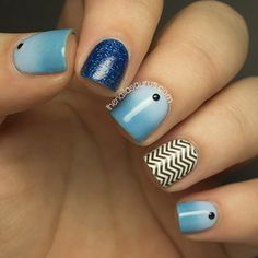 Blue, ombre, glitter and chevrons by Sammy Tremlin of The Nailasaurus  | Nail It! Magazine