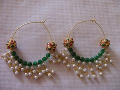 Handmade Earrings  kundan beads Agate natural by Chitrasjewelart, $16.00