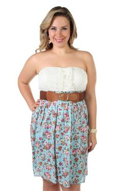 plus size strapless floral dot printed belted casual dress