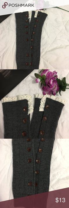 Boot cuffs Gray boot cuffs with white lace on top.  Never used.  Non smoking home.  In pristine condition. Other