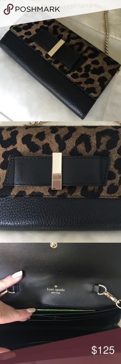 Spotted while shopping on Poshmark: Kate Spade Milou Parchment Drive Calf Hair Clutch! #poshmark #fashion #shopping #style #kate spade #Handbags