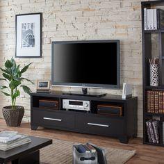 "60"" Furniture of America Drewslee Modern Multi-storage Black Media Console"