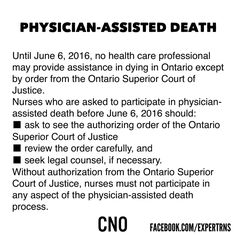 About #Patient #Assisted #Death and the Responsibility of #Nurses in Ontario Canada.
