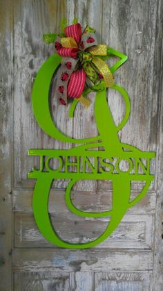 Initial with Name Door Hanger with Bow