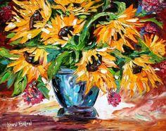 Sunflower power door Annelies van Biesbergen van Biesbergen Artist op Etsy