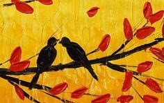 Τοπίο Ελαιογραφία Πουλιά Αγάπη Ζωγραφική Πρωτότυπο από Topfineart