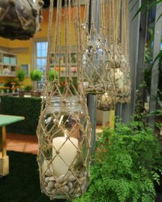 Knotted hanging lanterns-but I would do it with battery lights