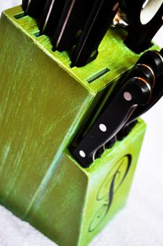 Personalize your knife block. because most of them aren't that pretty....such a great idea!