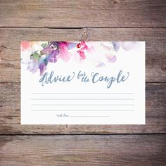Flower Watercolor Bridal Shower Advice Cards - Printable - Floral Advice for the Couple, Newly Weds by Larissa Kay Designs