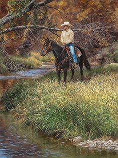 Double D (Dan and Dennis) by Ann Hanson Oil ~ x Cowboy Horse, Man Horse, Most Beautiful Horses, West Art, Autumn Painting, Le Far West, Country Art, Horse Art, Native American Art